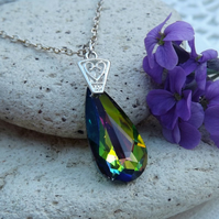 Swarovski Rainbow (Vitrail Medium) Long Pear Drop Crystal Pendant (Style 3)