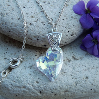 Swarovski Clear AB Crystal Heart Pendant. Devoted to you Heart (Style 19)
