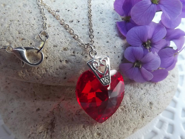 Swarovski Red 18mm Crystal Heart Pendant (style 8)