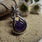 Amethyst Silver Plated Knotted Cabochon Pendant. Celtic knot pendant (Style np)