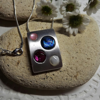 Abalone and Mother Of Pearl Brushed Silver Rectangle Necklace (Style 10)