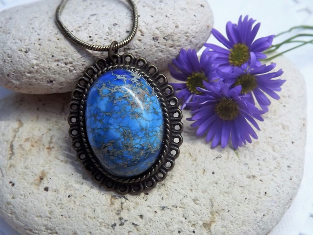 Blue Sea Sediment Jasper Cabochon Pendant. Bronze tone necklace (Style 8)