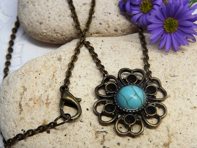 Turquoise Blue Howlite Cabochon Necklace in a Lace Daisy Cameo Base (Style 4)