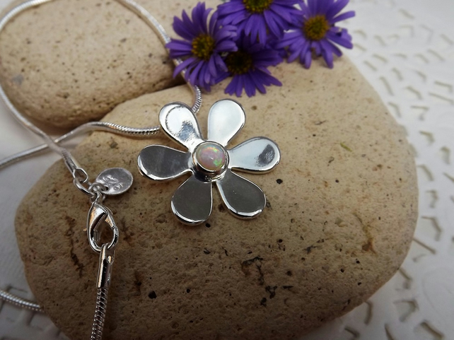Daisy Glass Opal  Cabochon Necklace (Style 17)