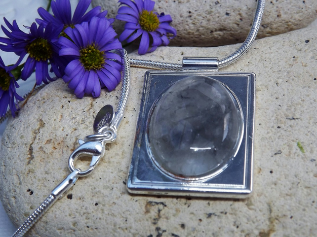 Grey Crystal Rectangular Cabochon Pendant. Silver Plate. (Style 46)
