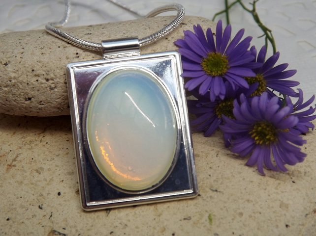 Opalite Rectangular Cabochon Pendant. Silver Plate. (Style 48)