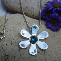 Daisy Blue Abalone Cabochon Necklace (Style 20)