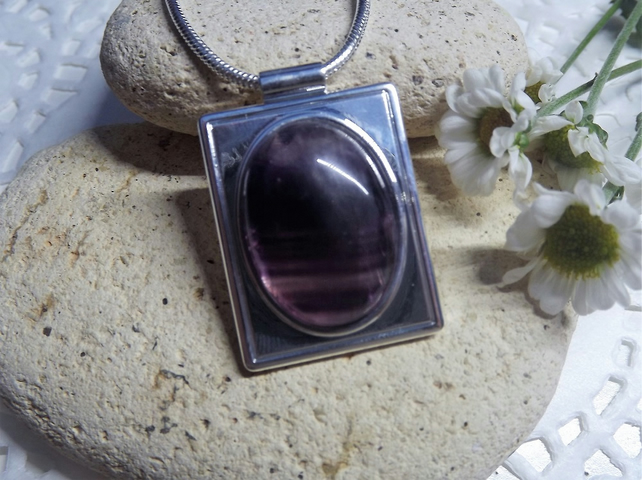 Fluorite Rectangular Cabochon Pendant. Silver Plate. (Style 3)