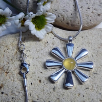 Sunflower Yellow Aragonite Cabochon Silver Plate Necklace (Style 1)