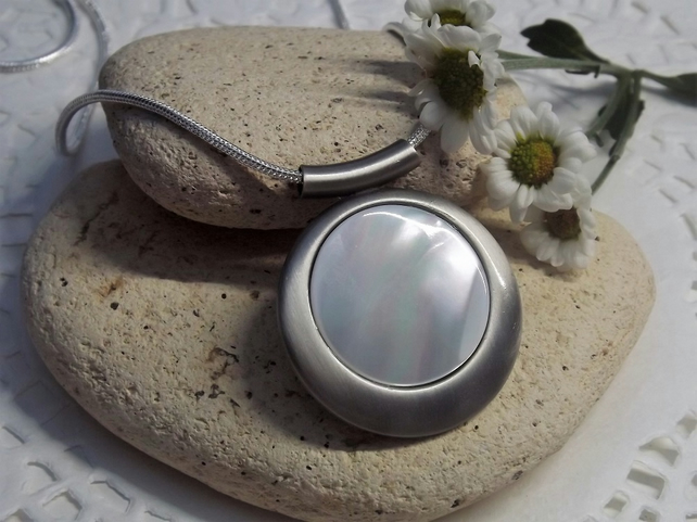 Mother of Pearl Circle Cabochon Necklace. Satin Silver Plate. (Style 2)