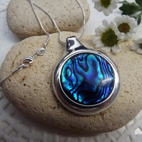 Blue Abalone Circle Cabochon Necklace (Style 12)