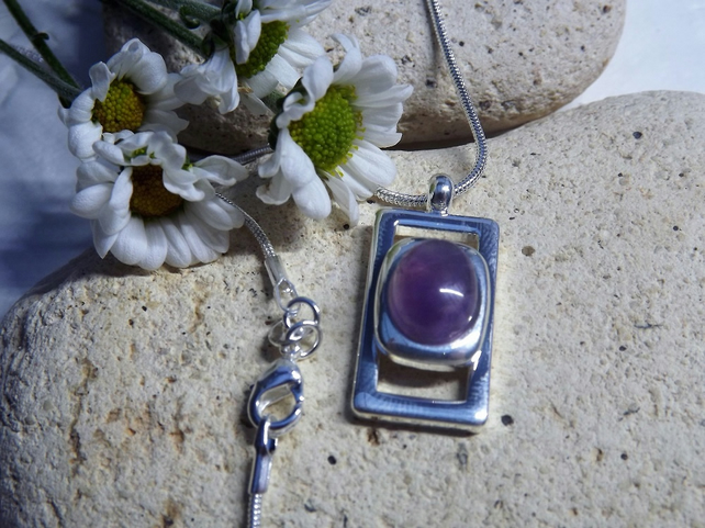 Amethyst Pendant.  Purple silver plated cabochon necklace (style 21)