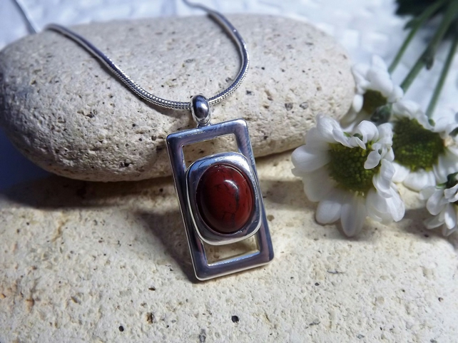 Red Jasper Pendant. Silver plated cabochon necklace (style 24)