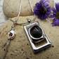 Bone Fossil Pendant. Black and Grey silver plated cabochon necklace (style 30)