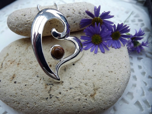 Heart Shaped.  Silver Plated.  Fossilised Wood Cabochon Pendant. (style 19)