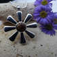 Sunflower Fossilised Wood Cabochon Silver Plate Necklace (Style 3)