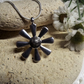 Sunflower Fossiled Bone Grey and Black Cabochon Silver Plate Necklace (Style 39)