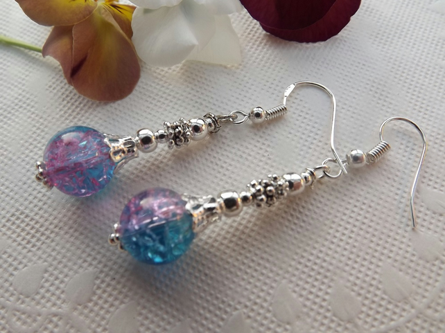 Turquoise and Pink Crackle Glass, Silver plated long, dangle earrings.