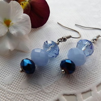 Shades of Blue Beaded Drop Dangle Earrings in silver plate