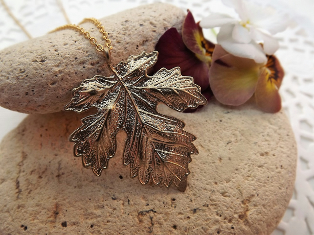 Maple Leaf Charm Necklace in 14K Matt Gold Plate (Style 20)