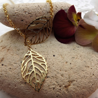 Two Leaf Gold Plated Charm Necklace (Style 3)