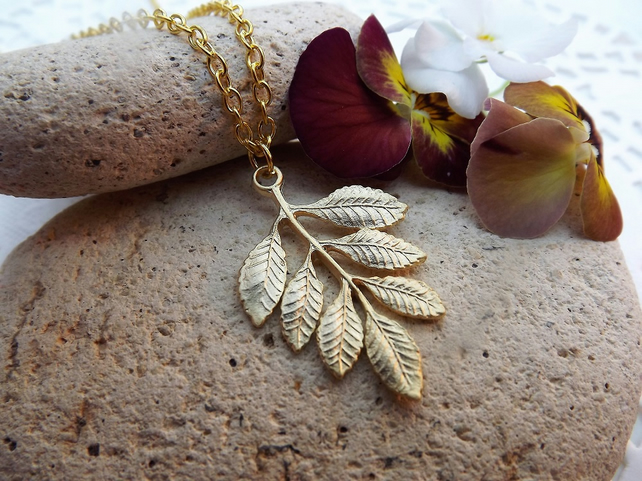 Ash Leaf Charm Necklace in 14k Matt Gold Plate (Style 25)