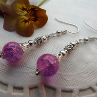Pink and Purple Crackle Glass, Silver plated long, dangle earrings.