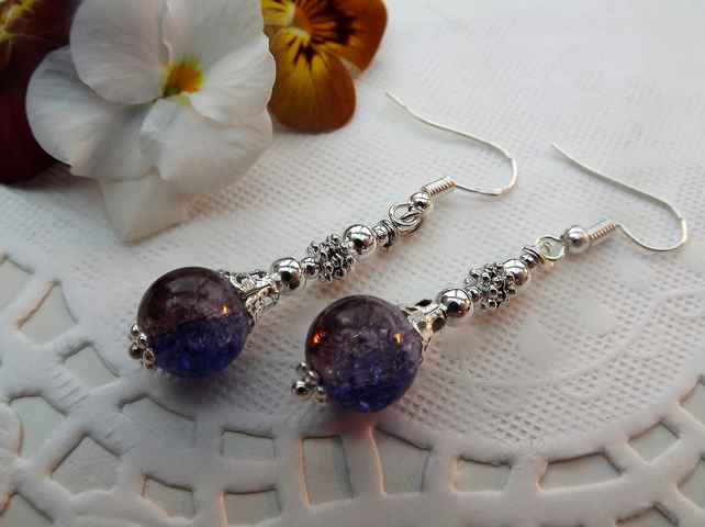 Purple and Brown Crackle Glass, Silver plated long, dangle earrings.