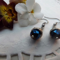 Crystal Navy Blue and Decorative Silver plated Bead Cap Dangle Earrings