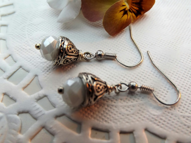 Crystal White and Decorative Silver plated Bead Cap Dangle Earrings