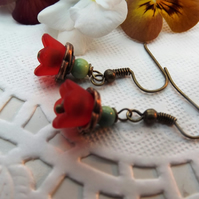 Red and Green Lucite Flower Earrings Brass.