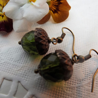 Green Acorn Drop Earrings