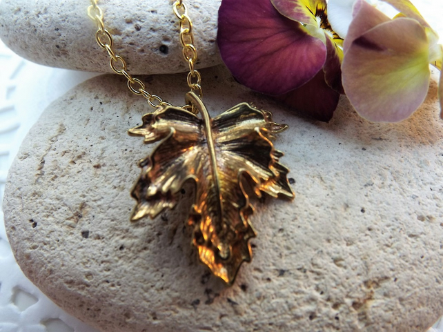 Frilly Brassy Gold Plate Maple Leaf Charm Necklace (Style 2)
