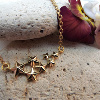 Star Charm Necklace.  Gold Plate. (Style 43)