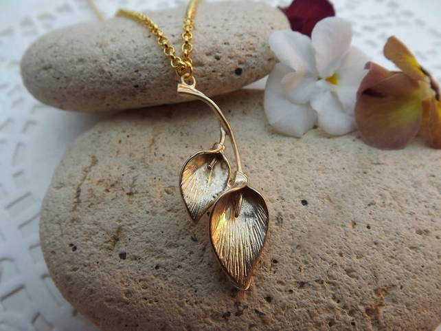 Double Calla Lily Charm Necklace in 14K Matt Gold Plate (Style18)
