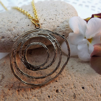 Circle Textured Gold Plate Charm Necklace (style 7)