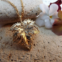 Filigree Maple Leaf Charm Necklace in 14k Matt Gold Plate (Style 28)