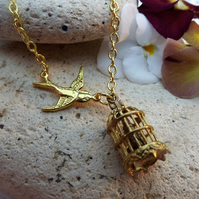 Dove Cage Gold Plate Charm Necklace(Style 12)