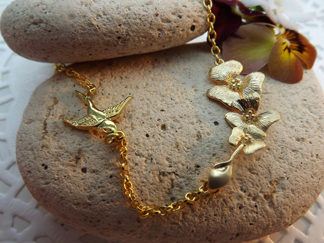 Matt Gold Plate Dove and Cascading Lily Charm Necklace (Style 5)
