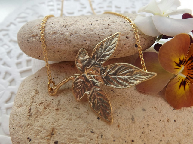 Large Ivy Leaf Necklace in 14K Matt Gold Plate (Style 24)