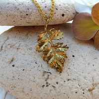 Frilly Ash Leaf Charm Necklace in Gold Plate (Style 27)