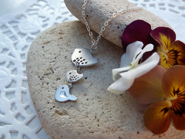 Three Baby Birds Charm Necklace in Silver Plate (Style 37)