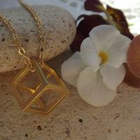 "Geometric 3D Cube Necklace. Gold Plate. 18"" Length"