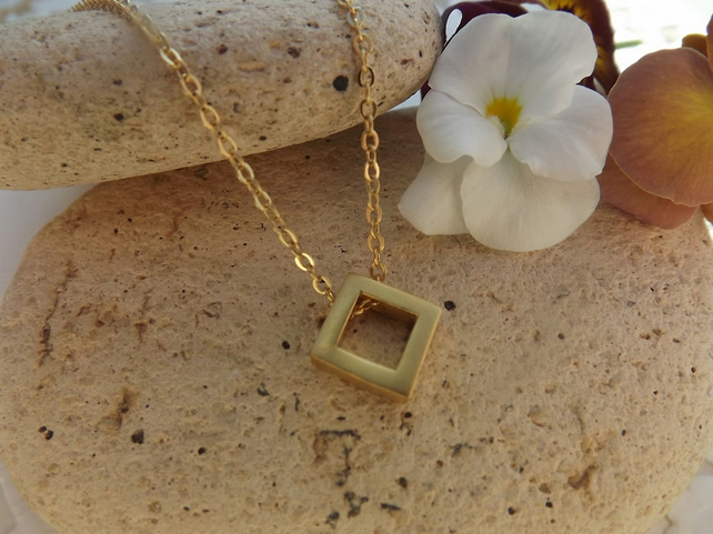 Geometric Square Necklace.  24K gold plate.