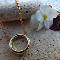 Gold Plated Geometric Circle Necklace Pendant.  Minimalist Jewellery