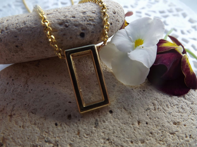 Gold Plated Geometric Rectangle Necklace Pendant. Minimalist Jewellery