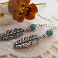 Feather Earrings with Turquoise Bead.  Drop Earrings, Silver Plated Feathers.