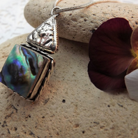 Geometric Abalone Pendant.  Silver Plated.