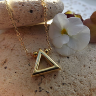 Gold Plated Geometric Triangle Necklace Pendant. Minimailst Jewellery