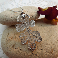 Leaf Jewellery Silver Dipped Oak Leaf Pendant